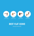 flat icon court set of hammer crime government vector image vector image