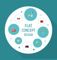 flat icons means for cleaning carpet vacuuming vector image vector image
