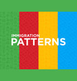 four different immigration seamless patterns vector image