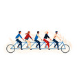 group happy people or friends riding tandem vector image vector image