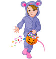 halloween mouse child vector image