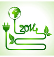 Happy New Year 2014 background with save the world vector image