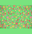 horizontal card with cute cartoon colored flowers vector image