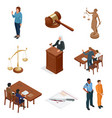 isometric law and justice symbols of legal vector image vector image