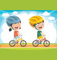 kids cycling vector image