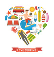 Love Surfing Heart Concept vector image vector image
