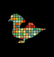 mandarin bird mosaic color silhouette animal vector image
