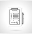 medical clipboard flat line icon vector image vector image