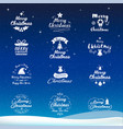 merry christmas and happy new year icon set vector image vector image