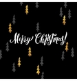 Merry Christmas hand lettering and Golden Tree vector image vector image