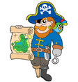 pirate with treasure map vector image vector image