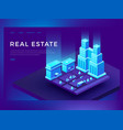 real estate web site design with 3d isometric vector image