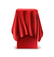 realistic stand covered with red silk cloth vector image vector image