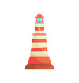red and white striped lighthouse searchlight vector image vector image
