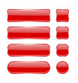 red glass buttons collection of menu interface 3d vector image vector image