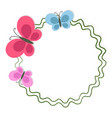 round frame with butterflies isolated on white vector image