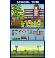 School theme with students and campus vector image vector image