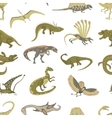 seamless pattern of jurassic reptile vector image