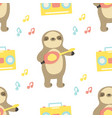seamless pattern with cute sloth playing ukulele vector image vector image