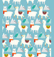 seamless pattern with llamas vector image