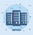 server data center storage connection vector image