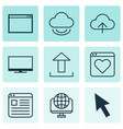 set of 9 world wide web icons includes followed
