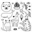 set with bear whale llama cat tiger unicorn plant vector image