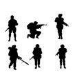 six silhouettes of soldiers vector image vector image