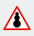 snowman warning triangle road sign vector image vector image
