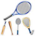 Sticker set of sport equipments vector image vector image
