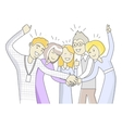 Successful Team in Linear Style Isolated on White vector image vector image