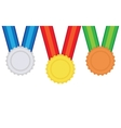 Three medals gold silver and bronze vector image vector image