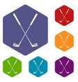 two golf clubs icons set hexagon vector image vector image