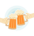 two human hands toasting with beer mugs flat vector image vector image