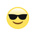 yellow smiley face with black sunglasses flat icon vector image