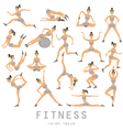yoga set Women Sketch asana Girl exercises Healthy vector image