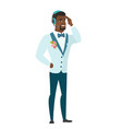 young african-american groom in headset vector image vector image