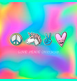 cute patches badge love peace unicorns vector image