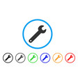 spanner rounded icon vector image