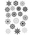 Ship wheel in retro style icon set vector image