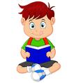 Young boy reading book vector image