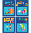 back to school set of posters with various objects vector image vector image