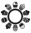 black and white cupcakes vector image vector image