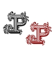 capital letter p with curly flourishes vector image vector image