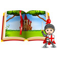 castle scenery in the book and a knight vector image