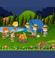 children camping out in the woods vector image vector image