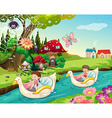 Children riding boats on the river vector image vector image