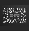 christmas background with frame white winter vector image vector image