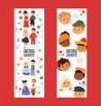 dating website with kids set horizontal banners vector image
