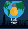 earth hour bulb clock city globe world vector image vector image